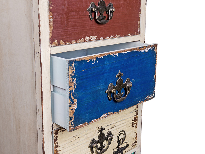 wooden chest with drawers in different colors